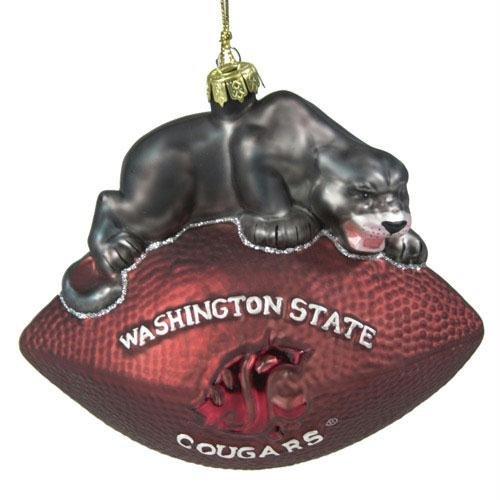 Glass Mascot Football Ornament - NCAA 6