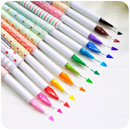 Outop Creative Design Korea Stationery Mini Multicolour Pen 0.5mm Resurrect Water-based Pen Random Color