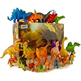24 Dinosaur Toys For 3, 4, 5, 6, 7 year old Boys Girls Toddlers Kids - Enjoy Cake Top Bath Tub Pool Fun or Pretend Play - T-rex Spinosaurus Triceratops Preschool Action Figures -STEM Learning Dino Set