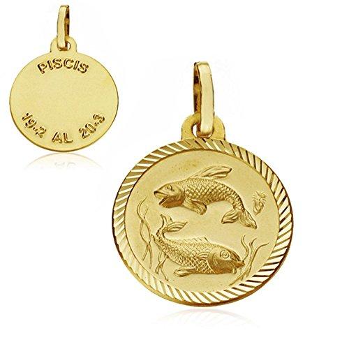 Médaille pendentif 16mm or 18k Poissons horoscope. signe du zodiaque [AA7415GR] - personnalisable - ENREGISTREMENT inclus dans le prix