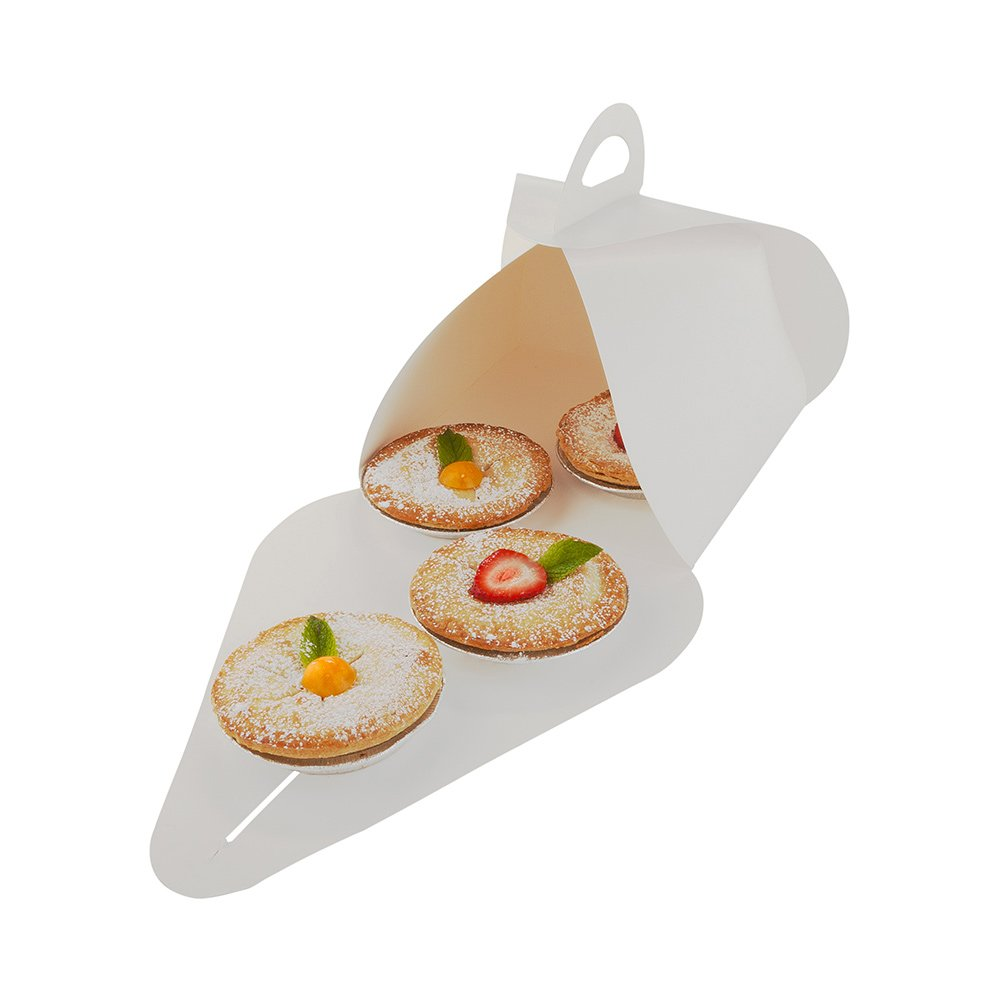 Pastry To Go Box, Cake To Go Box, Pie To Go Box with Handle - Lunch To Go Box - 9.1'' - White - 100ct Box - Restaurantware