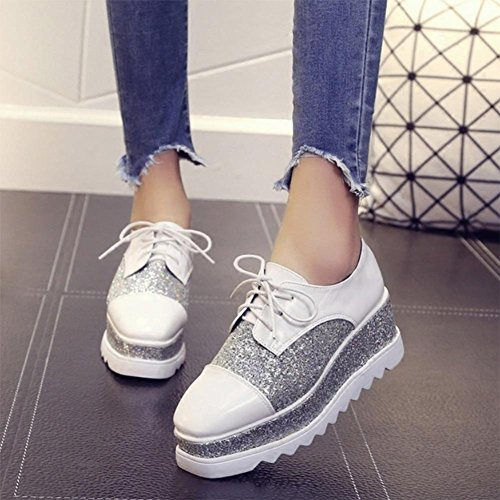 los zapatos del elevador Ms Spring zapatos de plataforma pesada de fondo zapatos de punta cuadrada de encaje pendiente con escogen los zapatos , US7.5 / EU38 / UK5.5 / CN38