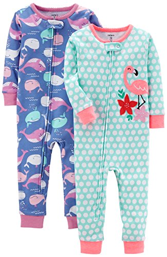 Girls Whale (Carter's Baby Girls' 2-Pack Cotton Footless Pajamas, Whale/Flamingo, 4T)