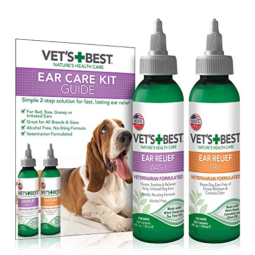 Vet's Best Dog Ear Cleaner Kit | Multi-Symptom Ear Relief | Wash & Dry Treatment | (Vet Solutions Ear Cleanser)
