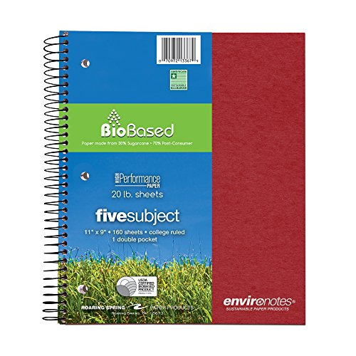 Recycled Spiral Bound Notebook - Roaring Spring Environotes Notebook, Five Subject, 11