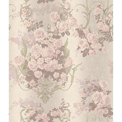 (York Wallcoverings AR7705 Charleston Bouquet Damask Wallpaper, Iridescent Pale Green/Cream/Peach/Pale Lilac)