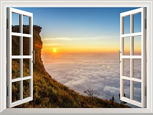 Removable Wall Sticker Wall Mural Majestic Sea of Clouds at Sunrise Creative Window View Wall Decor