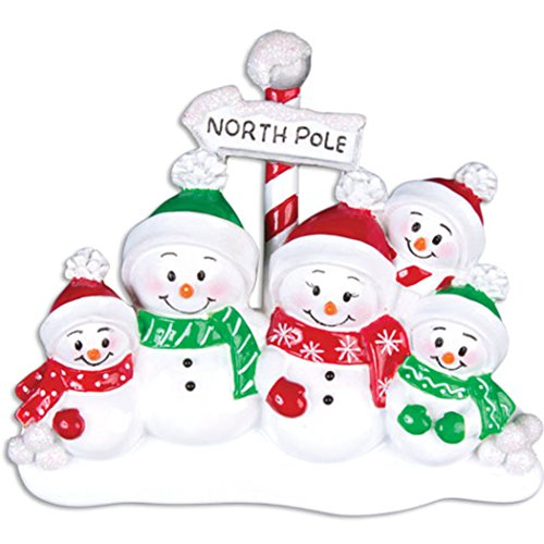 Personalized North Pole Family of 5 Christmas Tree Ornament 2019 - Snowman Parent Child Hat Play Snowball Red Green Candy Cane Sign Winter Activity Tradition Gift Year - Free Customization (Five) ()