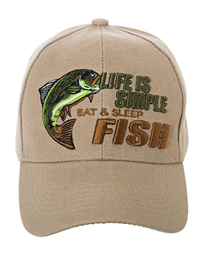 Life is Simple - Eat, Sleep, Fish Camo Hat - Funny Fishing Gift - 100% Cotton Embroidered Cap (Tan)