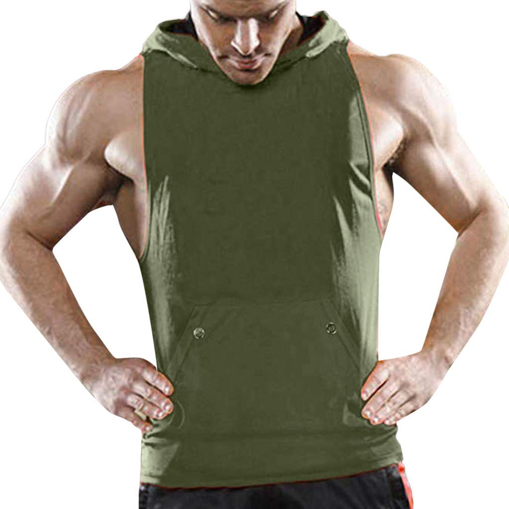 Handsome Men Tank Tops Cut Off Hooded Pocket Muscle Gym Sleeveless T-Shirt Bodybuilding (Army Green, M)