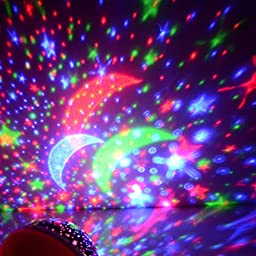 Star Sky Moon Projector Multicolor Led bulbs Or Single Color.Blue Red and Green Color Changing Led Night Light Lamp Decorative Light Mood Light in Bedroom(B4, BLUE)