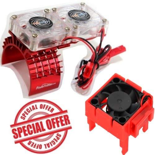 Powerhobby Traxxas Slash 4x4 Motor Cooling Fan/HeatSink Dual Twin Fan + Velineon VXL-3s ESC Cooling Fan Combo RED (Best Motor And Esc For Slash 4x4)