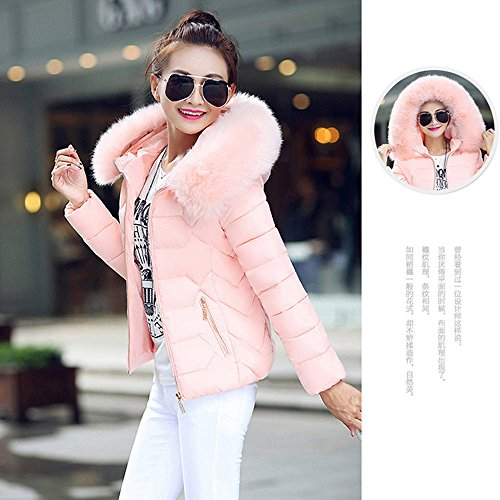 Ladies Sleeve Coat Outwear MIRRAY Warm Winter Jacket Hooded Long Pink Female Parka Short with Fur Cotton Autumn Collar Pockets Thick Zipper pEqww0xAd