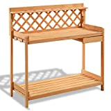 MyEasyShopping Garden Wood Work Potting Bench Station with Hook Bench Potting Work Garden Station Outdoor Wood Planting Table Shelf Solid