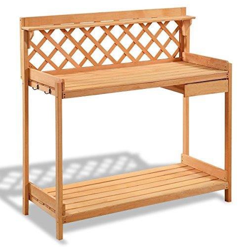 (Imtinanz Modern Garden Wood Work Potting Bench Station with Hook)
