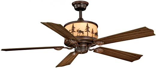 AireRyder FN56305BBZ Downrod Mount, 5 Rosewood And Dark Walnut Blades Ceiling fan with 65 watts light, Burnished Bronze