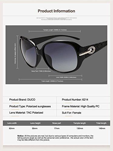 eba6b2a0b5 Duco Women s Shades Classic Oversized Polarized Sunglasses 100% UV  Protection 6214 (Blak Frame Gray Lens)  Amazon.ca  Clothing   Accessories