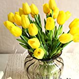 Kaimao 10 Pcs Real Touch Artificial Tulips Flower Bouquet / Fake Flower Bouquets for Wedding Garden Decor Birthday Christmas Gift - Yellow