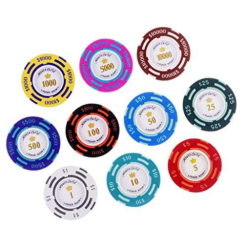 flameer 10pcsカジノコインおもちゃProfessionalポーカーチップボードゲームEntertainment Props Hold ` emカードボードゲーム