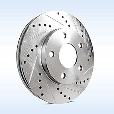 Power Sport Cross Drilled Slotted Brake Rotors and Ceramic Brake Pads Kit -80552 [FRONTS]: Automotive