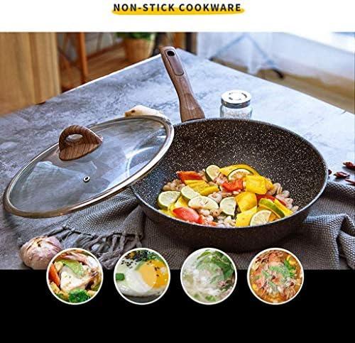 SHYOD Wok - Poêle en aluminium à fond plat non-Stick Wok multifonctions poêlon avec couvercle et poignée de bakélite Convient for tous les types Hob (Size : Small)