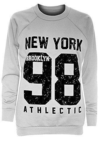 Niño Niña Brooklyn 76 New York 98 Eslóganes Estampado Cuello Redondo Manga Larga De Punto Elástico