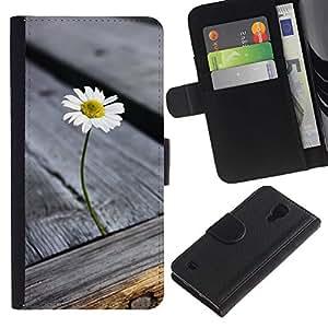 Be Good Phone Accessory // Caso del tirón Billetera de Cuero Titular de la tarjeta Carcasa Funda de Protección para Samsung Galaxy S4 IV I9500 // Wood Grain Texture Grey Summer