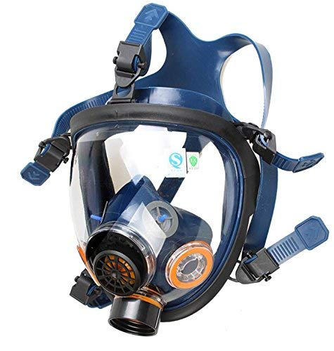 Induschoice Organic Vapor Full Face Respirator Mask Gas Mask Paint Pesticide Chemical Formaldehyde Anti Virus Respiratory Protection(Respirator +1 LDG3 Canister) by Induschoice (Image #2)