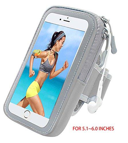 Lumker® Brazalete Deportivo para iPhone X / 6 Plus/7 Plus/8 Plus, Samsung Galaxy S5 /S6/ S8/ S7 Edge otros Teléfonos Inteligentes de 5.1-6.0 Pulgadas Caja del Brazalete Antideslizante Contra Sudor, Ba B-grisv(5.1-6.0 Pulg)