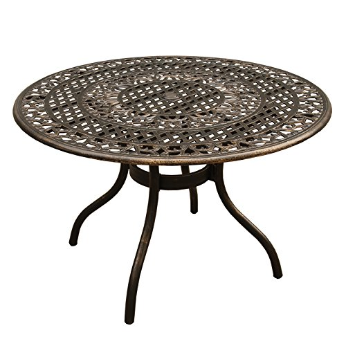 Oakland Living AZ2666-ROUND-48-ORNATE-TABLE-BZ Outdoor Aluminum 48 Inch Round Table, Bronze Review
