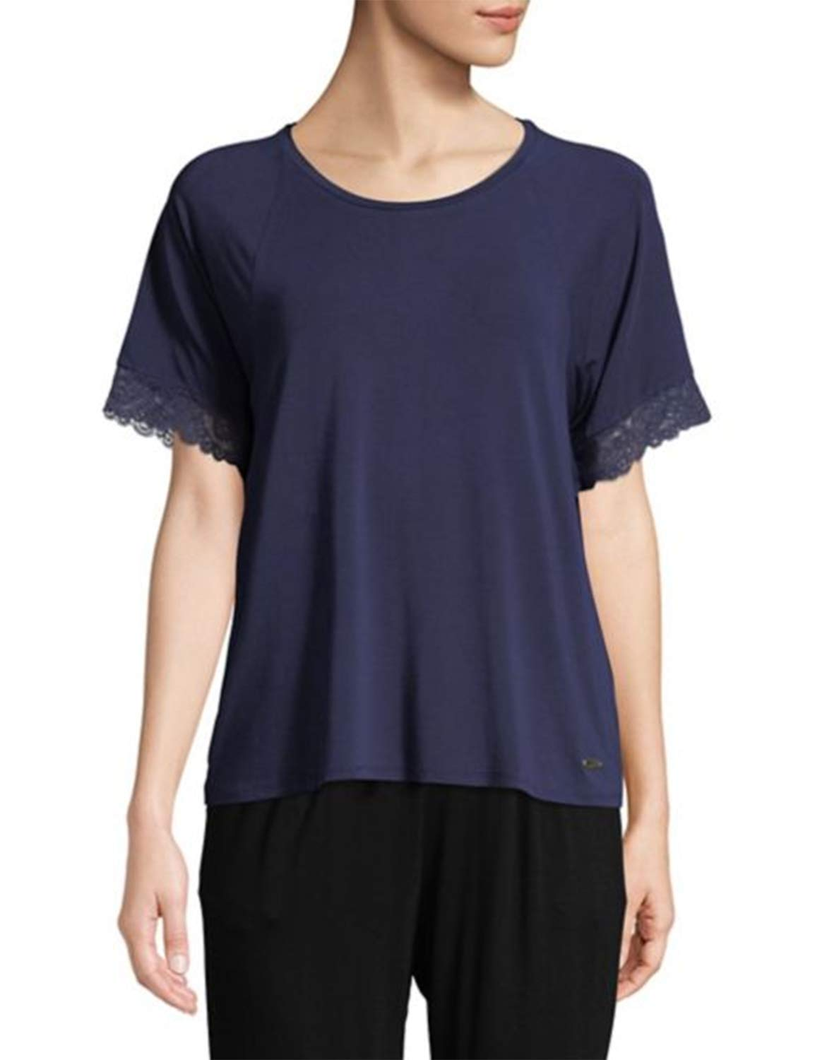 Blooming Jelly Womens Lace Stitching Sleeve Top Jumper Round Neck T Shirt Tee Shirts Blue