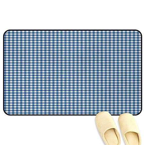 (homecoco Abstract Rug Mat Welcome Doormat Picnic Table Style Simplistic Two Colored Bands Kitchen Overlapping Motif Violet Blue White Decorative Floor Mat W19 x L31 INCH)