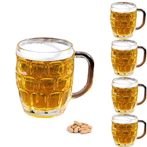 - Set of 4 Dimple Stein German Irish Beer Glass Mug With Large Handle -16 oz Clear