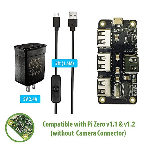 MakerSpot 4-Port Stackable USB Hub HAT for Raspberry Pi Zero V1.1 &V1.2 with 2.4A Power Supply & 1.5m Micro USB Cable with On Off Switch