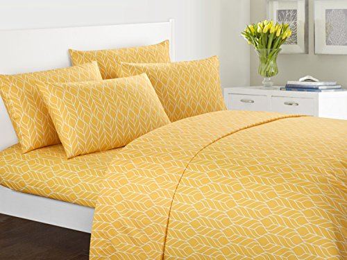 Chic Home FallenLeaf 6 Piece Set Super Soft Two-Tone Geometric Leaf Pattern Print Deep Pocket Design – Includes Flat & Fitted Sheets and Bonus Pillowcases, Queen Yellow -
