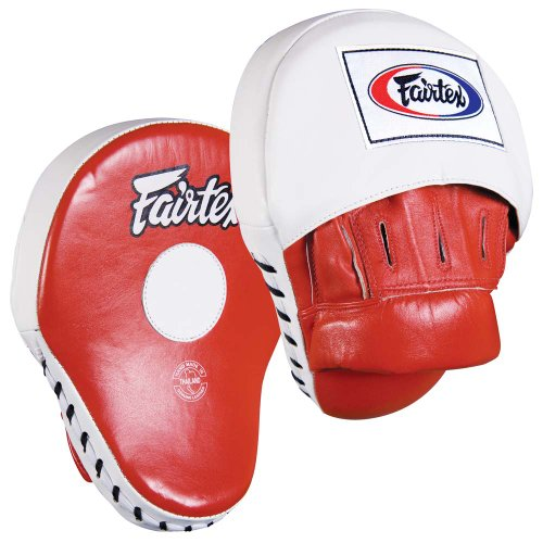 Fairtex Contoured Punch Mitts, Red/White