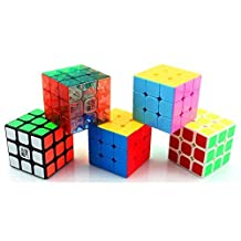 Magic Cube Puzzle & Puzzle Cube Pack (5 in Pack of YJ YULONG 3x3 Cube)