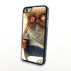 The Cute Owl Drinking The Coffee On Matte Plastic Case for Iphone 5/5s Hard Cover Protector Skin Free Shipping