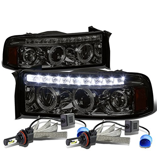Dodge Ram BR/BE Pair of Smoked Lens Amber Corner Dual Halo Projector Headlight + 9007 LED Conversion Kit