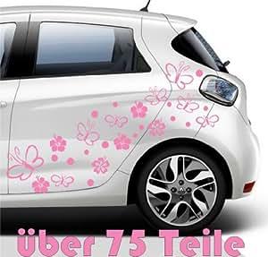 """75 pcs.""""hibisco flores rosa Flower Butterfly,pink 10-12 cm Pegatinas y vinilos adhesivos para tuning de coches y motos,Tatuajes de pared,azulejo pegatina,Pegatinas, de gran calidad y larga duración - MADE IN SPAIN"""