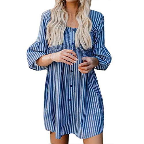 - Alangbudu Women's Crew Neck Front Ruched Half Flare Sleeve Striped Print Shift Loose Dress Blue