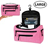 Pink Toiletry Bag for Women/Girls Travel Cosmetic/Make Up Waterproof Large Hanging Organizer with 7 Pockets for Bathroom Shower