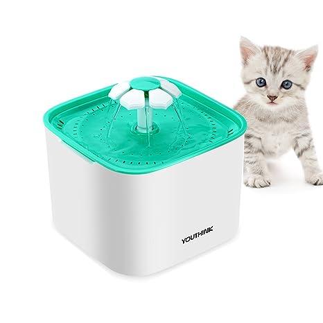 YOUTHINK Fuente de Agua Gato Flores, Dispensador Bebedero Automático Silencia para Mascotas, Perros Pequeños