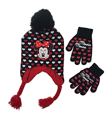 Minnie Mouse Rock the Dots 2 Piece Set Knit Hat and gloves Girls One (Disney 2 Piece Gloves)