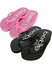 Girls 2 Pack Glitter Wedge Flip Flop Thong Sandals (Little Kid/Big Kid)