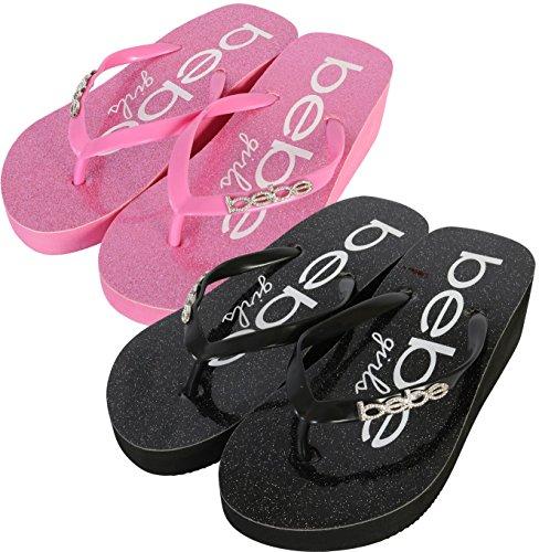 Price comparison product image bebe Girls 2 Pack Glitter Wedge Flip Flop Thong Sandals, Black/Pink, 4 M US Big Kid'