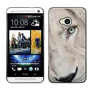 Caucho caso de Shell duro de la cubierta de accesorios de protección BY RAYDREAMMM - HTC One M7 - Lion Cub Puppy White Eye Muzzle
