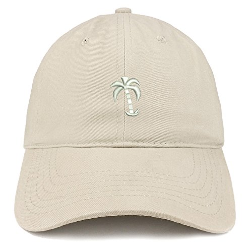 Trendy Apparel Shop Palm Tree Embroidered Soft Low Profile Adjustable Cotton Cap - Stone