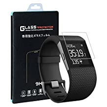 Fitbit Surge Screen Protector(2 PACK), Qosea Ultra-thin 2.5D 9H Hardness Crystal Clear Scratch Resistant Tempered Glass Screen Protector for Fitbit Surge