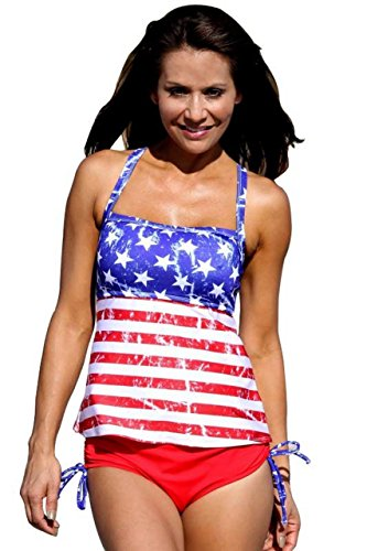 UjENA American Vintage Tankini Plus USA Patriotic Swimsuit Top 1X, Bottom 1X